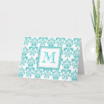 Your Monogram, Teal Damask Pattern 2 Note Card