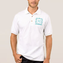 Your Monogram, Teal Damask Pattern 2 Polo Shirt