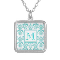 Your Monogram, Teal Damask Pattern 2 Silver Plated Necklace