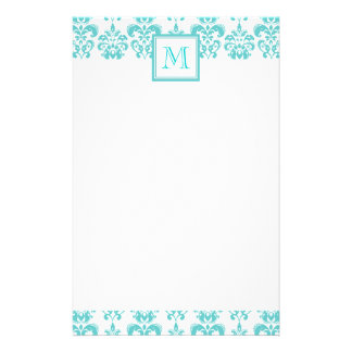 Your Monogram, Teal Damask Pattern 2 Stationery