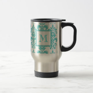 Your Monogram, Teal Damask Pattern 2 Travel Mug