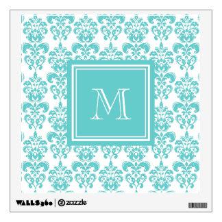 Your Monogram, Teal Damask Pattern 2 Wall Sticker