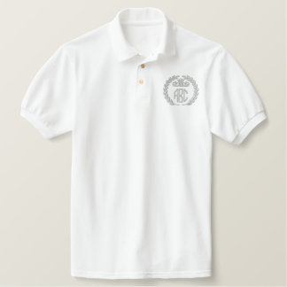 Your Monogram Up to 3 Letters Laurels Embroidery Embroidered Polo Shirt