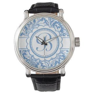 Your Monogram William Morris Blue Custom Color Wrist Watch
