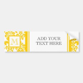 Your Monogram Yellow Damask Pattern 2 Bumper Sticker