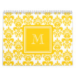 Your Monogram, Yellow Damask Pattern 2 Calendar