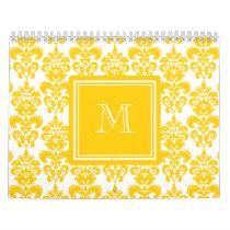 Your Monogram, Yellow Damask Pattern 2 Calendar