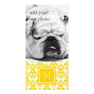 Your Monogram, Yellow Damask Pattern 2 Card