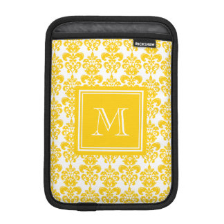 Your Monogram, Yellow Damask Pattern 2 iPad Mini Sleeve
