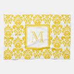 Your Monogram, Yellow Damask Pattern 2 Kitchen Towel