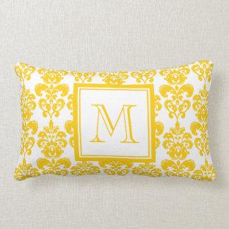 Your Monogram, Yellow Damask Pattern 2 Throw Pillow
