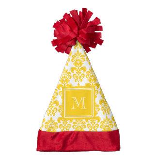 Your Monogram, Yellow Damask Pattern 2 Santa Hat