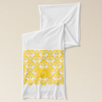 Your Monogram, Yellow Damask Pattern 2 Scarf