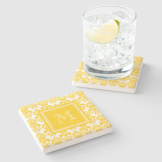 Your Monogram, Yellow Damask Pattern 2 Stone Coaster