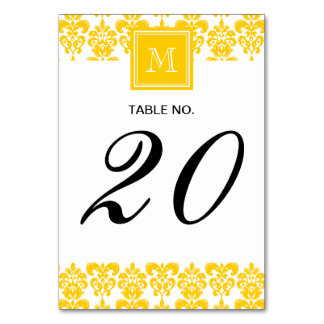 Your Monogram, Yellow Damask Pattern 2 Table Cards