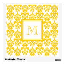 Your Monogram, Yellow Damask Pattern 2 Wall Sticker