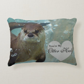 Your my Otter Half Brown River Otter Swimming Accent Pillow