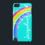 "Your name 10 letter rainbow aqua ipod case<br><div class=""desc"">Uniquely designed bright aqua sky and colourful rainbow girls ipod case. Case currently reads Jacqueline or you can personalize this case with the name of your choice up to 10 letters. Item designed exclusively by Sarah Trett.</div>"