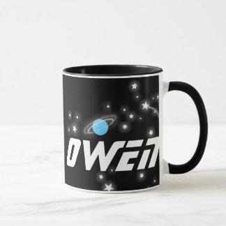 Your name (4 letter) space red black kids mug