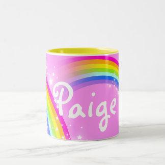 Your name (5 letter) girls rainbow light pink mug