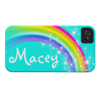 """""""Your name"""" (5 letter) rainbow aqua iphone case iPhone 4 Covers"""
