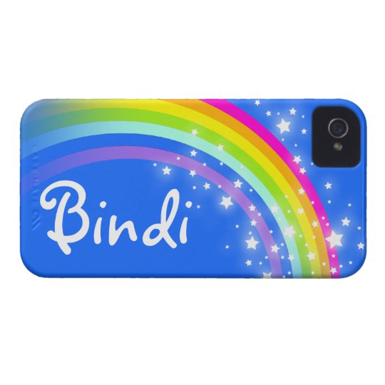 """""""Your name"""" (5 letter) rainbow blue iphone case"""