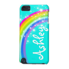"""Your name"" (6 letter) rainbow aqua ipod case at Zazzle"