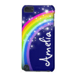 """""""Your name"""" (6 letter) rainbow on navy ipod case"""