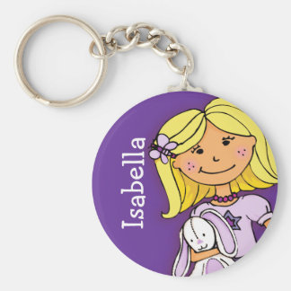 Your name 8 letter girls blonde purple keychain