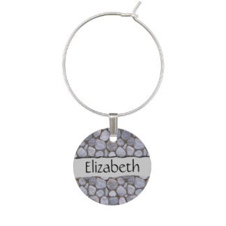 Your Name - A Bunch of Stones in the Dirt - Gray Wine Glass Charm