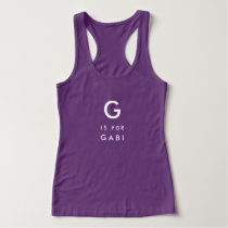 Your Name and Monogram Purple First Initial Tank Top