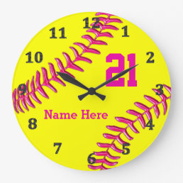 YOUR NAME and NUMBER on Cool Softball Wall Clocks