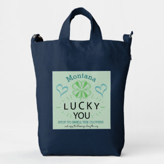 Your Name and Quotes 4 Leaf Clover Lucky You Logo Duck Bag