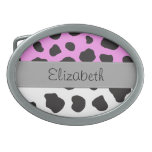 Your Name - Animal Print, Cow - Gray Black Pink Oval Belt Buckles