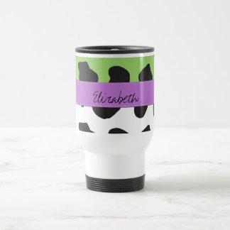 Your Name - Animal Print, Cow - Purple Black Green Mugs