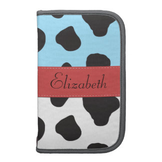 Your Name - Animal Print, Cow - Red Black Blue Planner