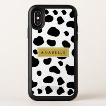 Your Name - Animal Print, Cow Spots - Black Gold OtterBox Symmetry iPhone XS Case
