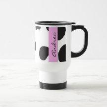 Your Name - Animal Print, Cow Spots - Black Pink Coffee Mugs