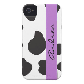 Your Name - Animal Print, Cow Spots - Black Purple iPhone 4 Cover