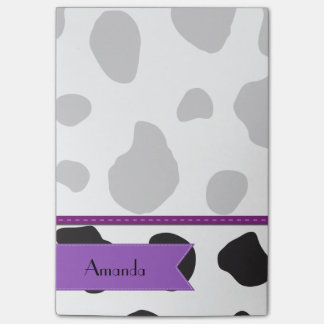 Your Name - Animal Print, Cow Spots - Black Purple Post-it® Notes