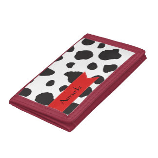 Your Name - Animal Print, Cow Spots - Black Red Tri-fold Wallet