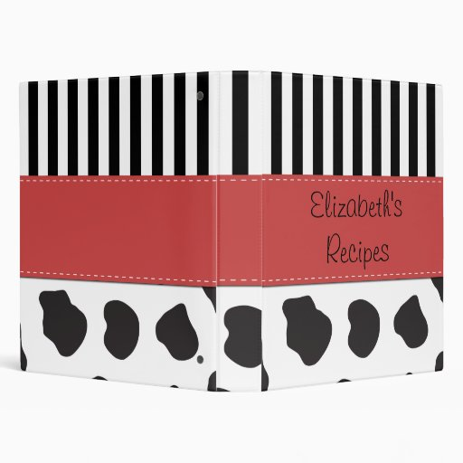 Your Name - Animal Print, Cow Spots - Black White 3 Ring Binder