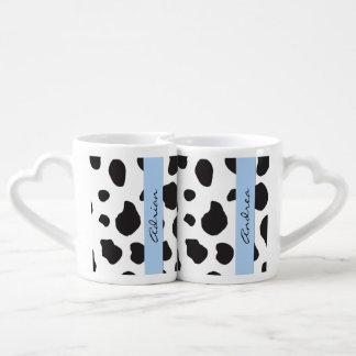 Your Name - Animal Print, Cow Spots - Black White Couples Coffee Mug