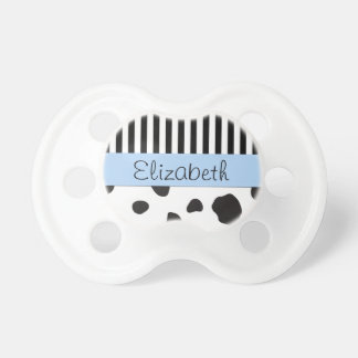 Your Name - Animal Print, Cow Spots - Black White Pacifier