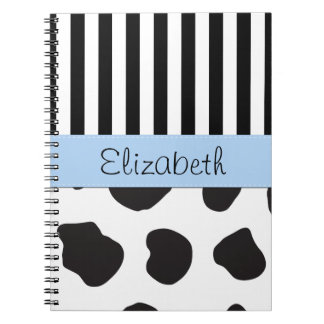 Your Name - Animal Print, Cow Spots - Black White Spiral Notebook