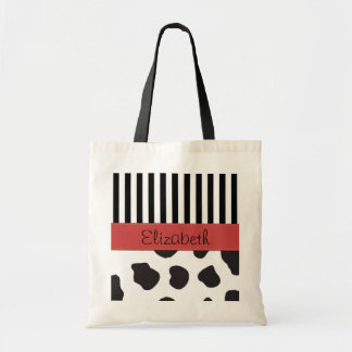Your Name - Animal Print, Cow Spots - Black White Tote Bag