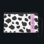 """Your Name - Animal Print, Cow Spots - Black White Wristlet Purse<br><div class=""""desc"""">Trendy image of black and white cow animal print pattern (also, there are some pink details in the design). Products from this mammals have spots (they are spotted), they represent agriculture (farm animals, domestic animals) and this artificial faux material represents animal fur, animal hair or animal skin. Animal print is...</div>"""