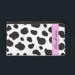"Your Name - Animal Print, Cow Spots - Black White Wristlet Purse<br><div class=""desc"">Trendy image of black and white cow animal print pattern (also, there are some pink details in the design). Products from this mammals have spots (they are spotted), they represent agriculture (farm animals, domestic animals) and this artificial faux material represents animal fur, animal hair or animal skin. Animal print is...</div>"