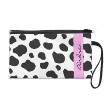 Your Name - Animal Print, Cow Spots - Black White Wristlet Purse