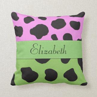 Your Name - Animal Print, Cow Spots - Green Black Throw Pillow